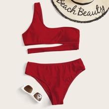 Bikini Badeanzug mit Ausschnitt und einer Schulter frei