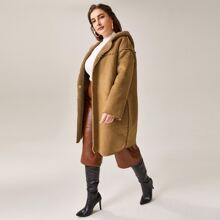 Plus Plush Lined Hooded Suede Coat