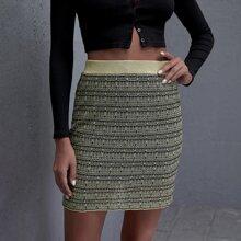Elastic Waist Plaid Pattern Sweater Skirt
