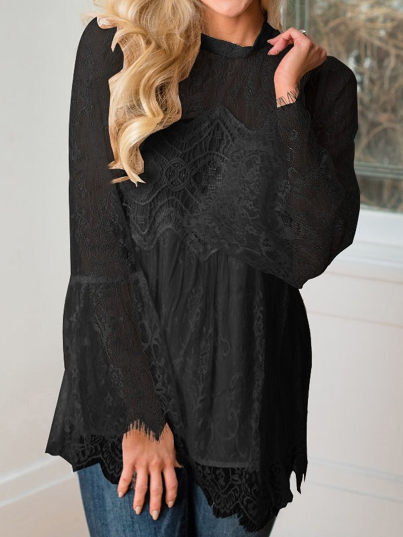 Ericdress Stand Collar Patchwork Lace Flare Sleeve Sexy Blouse