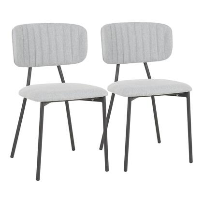 CH-BOUTON BKLGY2 Bouton Contemporary Chair in Black Metal and Light Grey Fabric- Set of