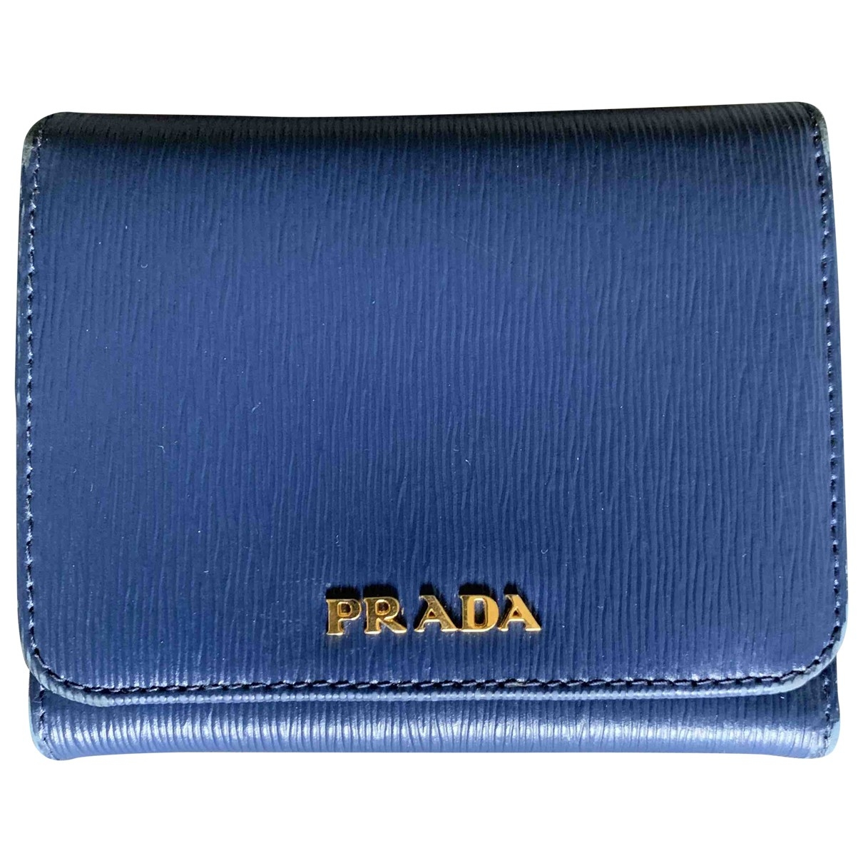 Prada \N Blue Leather Small bag, wallet & cases for Men \N