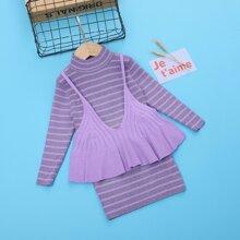 Vestidos jersey de niñita Volante rigido A rayas Casual