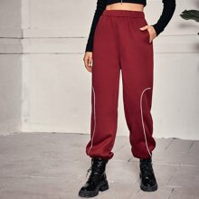 Elastic Waist Contrast Piping Joggers