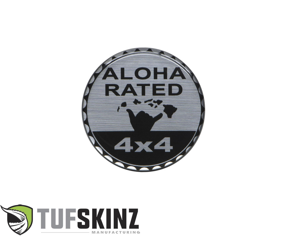 Tufskinz JEX059-DUM-013-G Rated Badge Fits Jeep 1 Piece Kit in Brushed Silver Aloha Rated