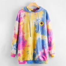 Drop Shoulder Sunflower Print Tie Dye Hoodie