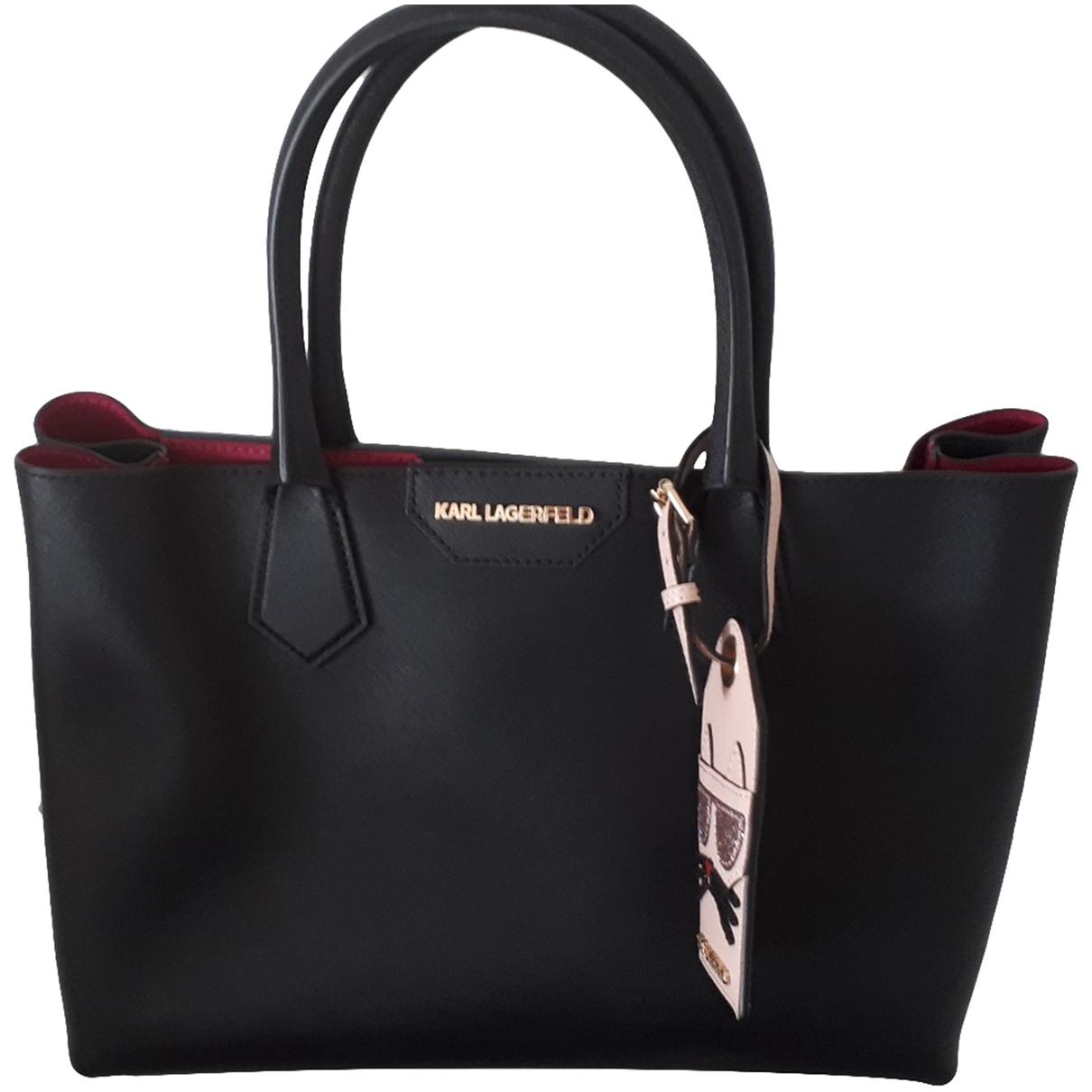 Karl \N Handtasche in  Schwarz Leder
