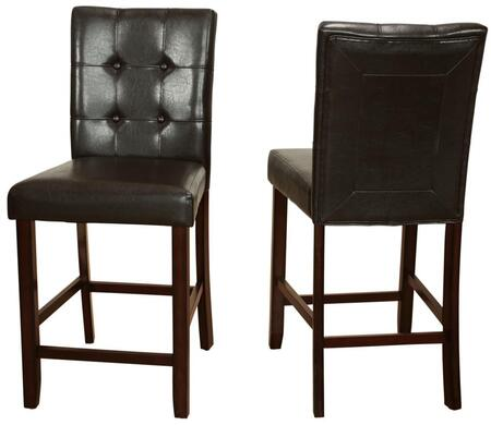 Eliza Collection EL704S-BR Counter Height Parsons Dining Chair with Full Back and Faux Leather in Brown