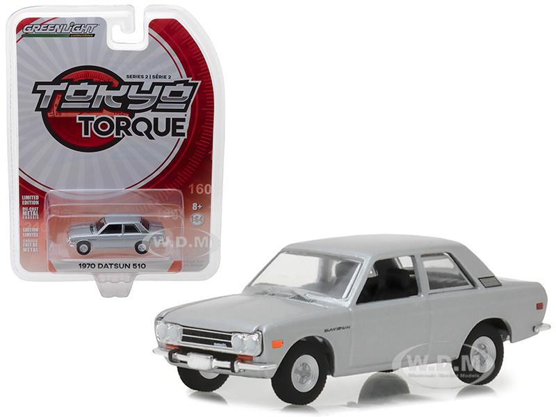1970 Datsun 510 Silver Tokyo Torque Series 2 1/64 Diecast Model Car by Greenlight