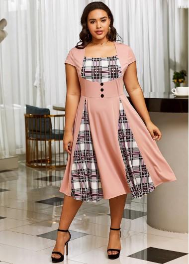 Plaid Short Sleeve Plus Size Dress - 2X