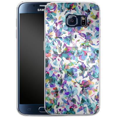 Samsung Galaxy S6 Silikon Handyhuelle - Aquatic Flowers Blue von Ninola Design