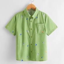 Boys Pocket Front Galaxy Print Shirt