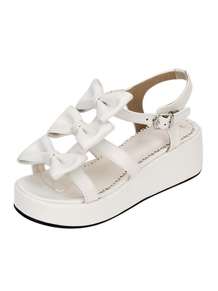 Milanoo Sweet Lolita Shoes Open Toe Wedge Heel PU Bows Flat White Lolita Sandals
