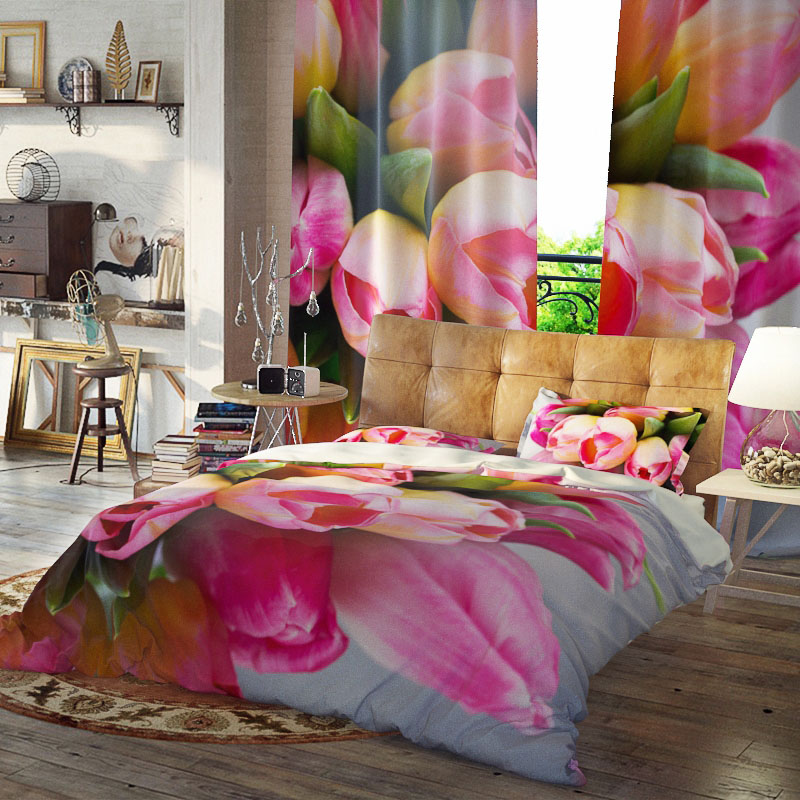 Floral Bunch Duvet Cover Set Three-Piece Set Reactive Printing Polyester Bedding Sets Colorfast Wear-resistant