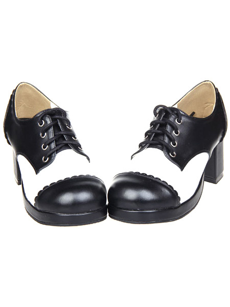 Milanoo Gothic Lolita Chunky Heels Shoes Tow-tone with Shoelace