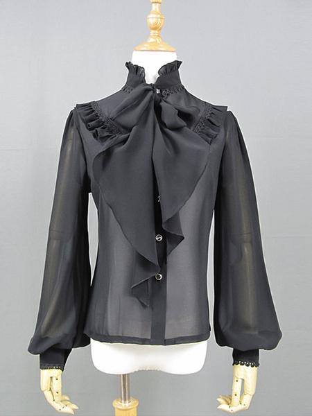 Milanoo Classic Lolita Shirt Black Lace Ruffle Chiffon Lolita Top