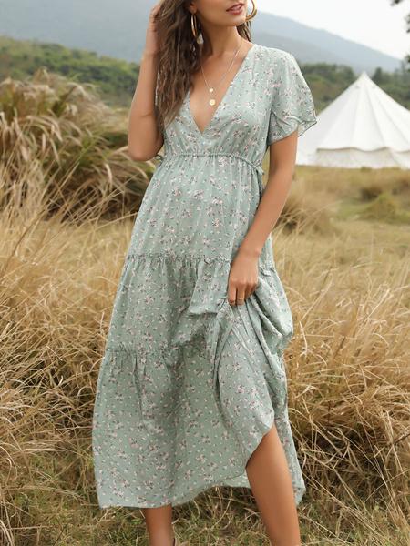 Milanoo Vestido largo con cuello en v y mangas cortas Vestido estampado floral de verano