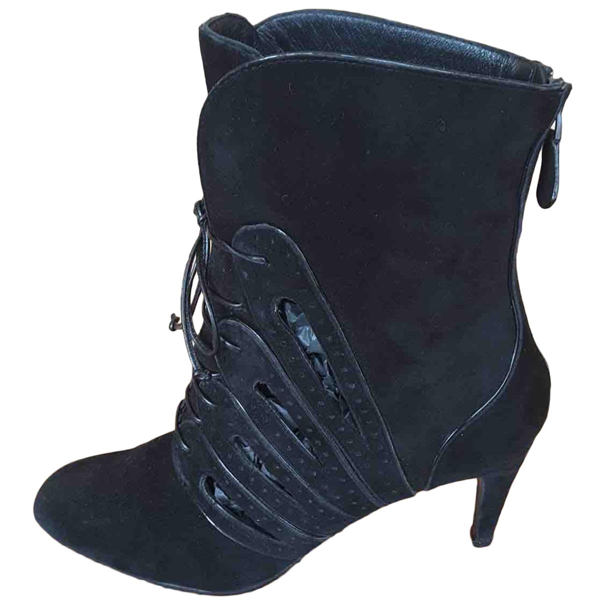 Bottega Veneta \N Black Suede Boots for Women 38 EU