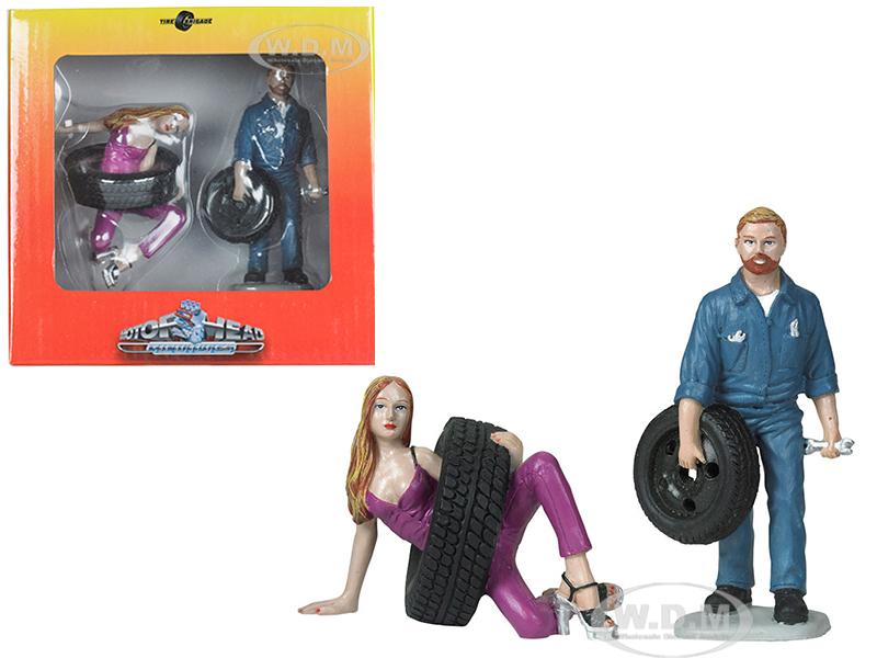 Val and Gary Tire Brigade 2 piece Figurine Set 1/18 by Motorhead Miniatures