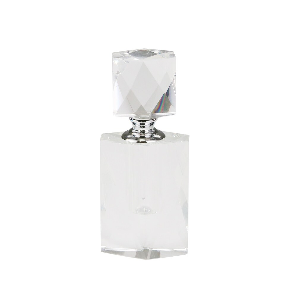 Sagebrook Home 13297-01 Crystal Perfume Bottle, Clear Crystal, 2.25 x 2.25 x 5.5 Inches (Clear)
