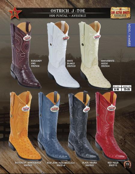 JToe Genuine Ostrich Mens Western Cowboy Boots Diff. Colors/Sizes