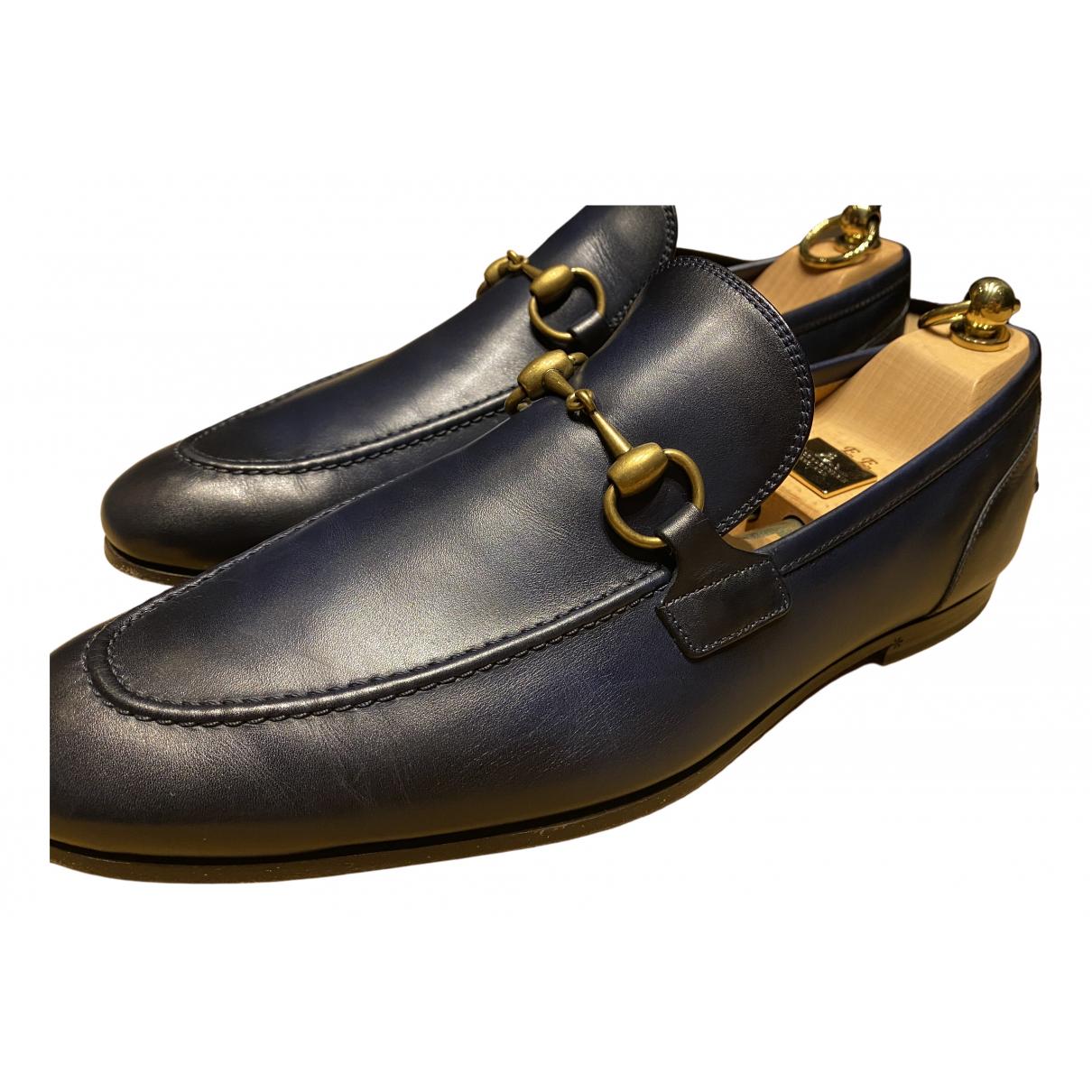 Gucci Jordaan Blue Leather Flats for Men 7.5 UK