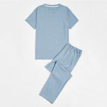 Men Letter Graphic Tee & Pants PJ Set