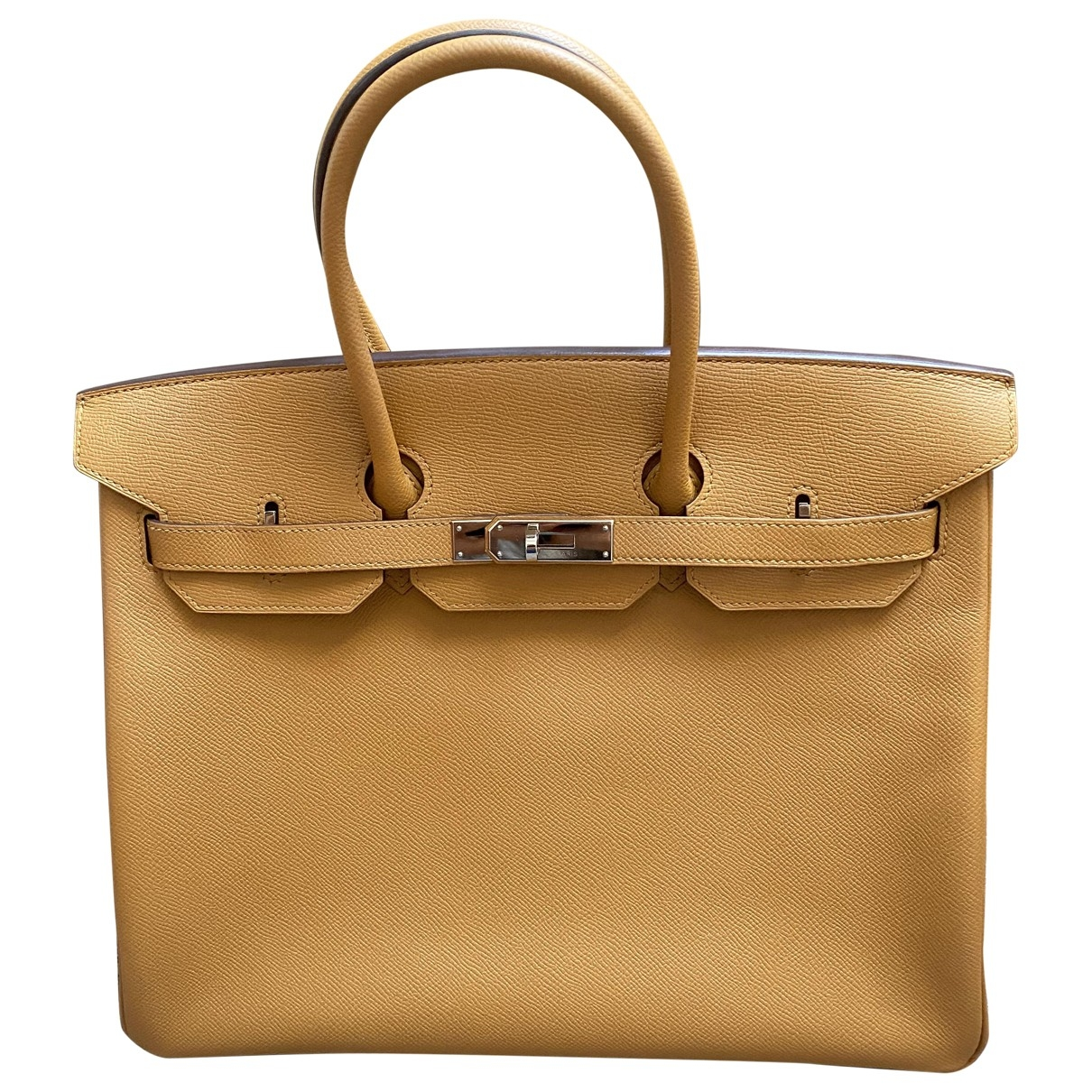 Hermes - Sac a main Birkin 35 pour femme en cuir - camel
