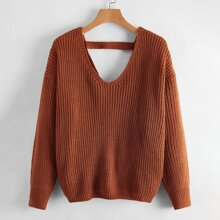 Twist Front Drop Shoulder Sweater