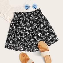 Plus Shirred Waist Ditsy Floral Wide Leg Shorts