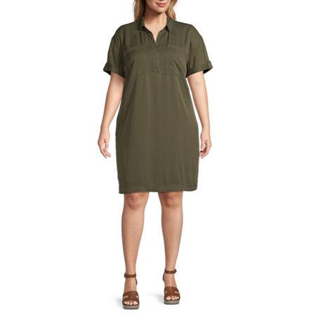 a.n.a-Plus Short Sleeve Shirt Dress, 0x , Green