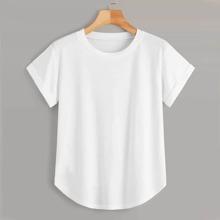 Einfarbiges T-Shirt mit gebogenem Saum