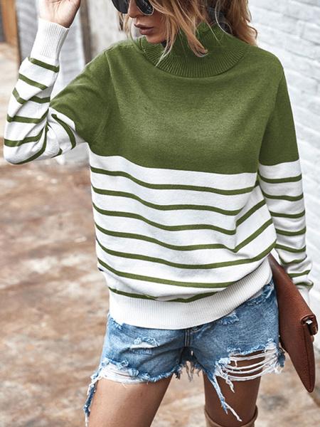 Milanoo Sueter de mujer Sueter Hunter Green Stripes Cuello alto Mangas largas Sueteres casuales