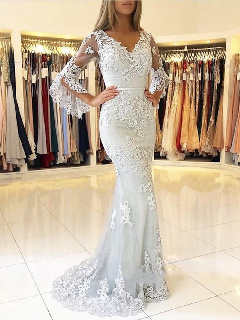 Ericdress Long Sleeve Lace Mermaid Evening Dress