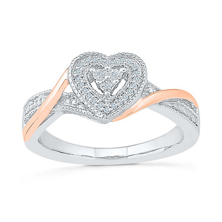 Promise My Love Womens Diamond Accent Genuine White Diamond 10K Gold Over Silver Heart Promise Ring, 9 , No Color Family