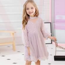 Babydoll Kleid mit Bogenkante und Netzstoff