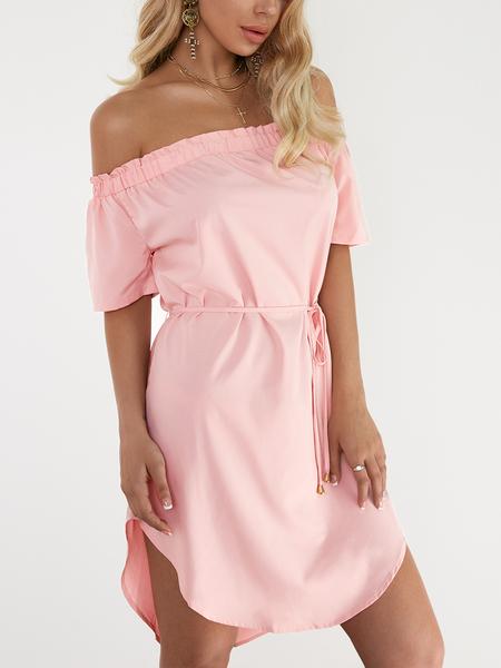 Yoins Pink Off The Shoulder Curved Hem Mini Dress with Waist belt