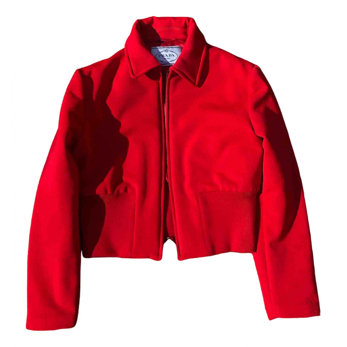 Prada \N Jacke in  Rot Wolle