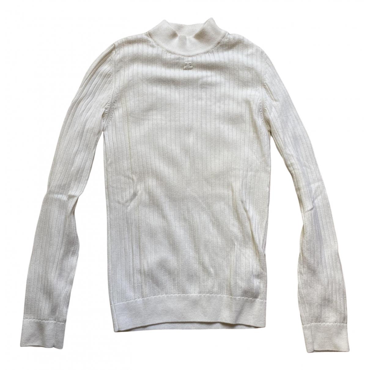 Courreges - Pull   pour femme en laine - ecru