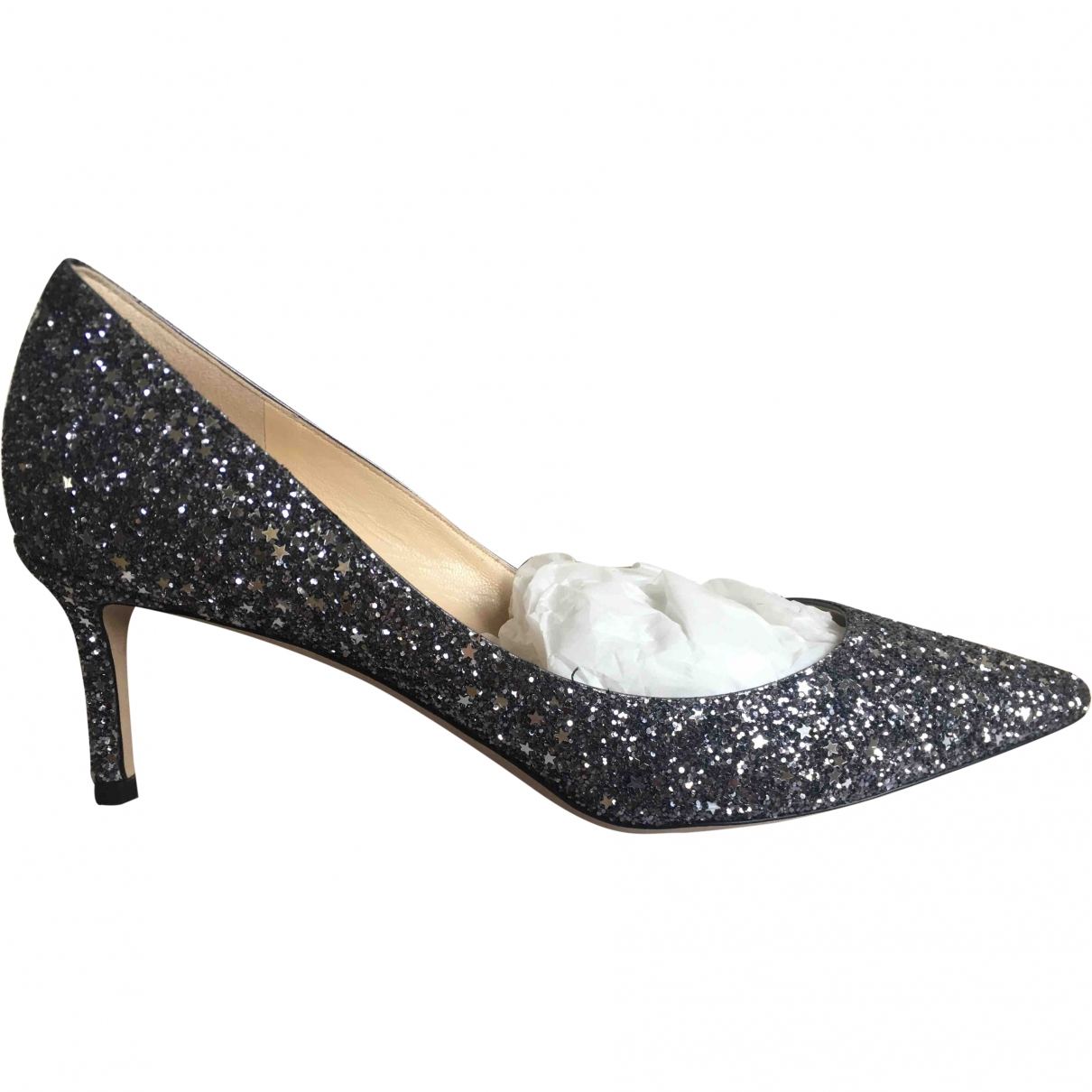 Jimmy Choo Romy Silver Glitter Heels for Women 39.5 EU
