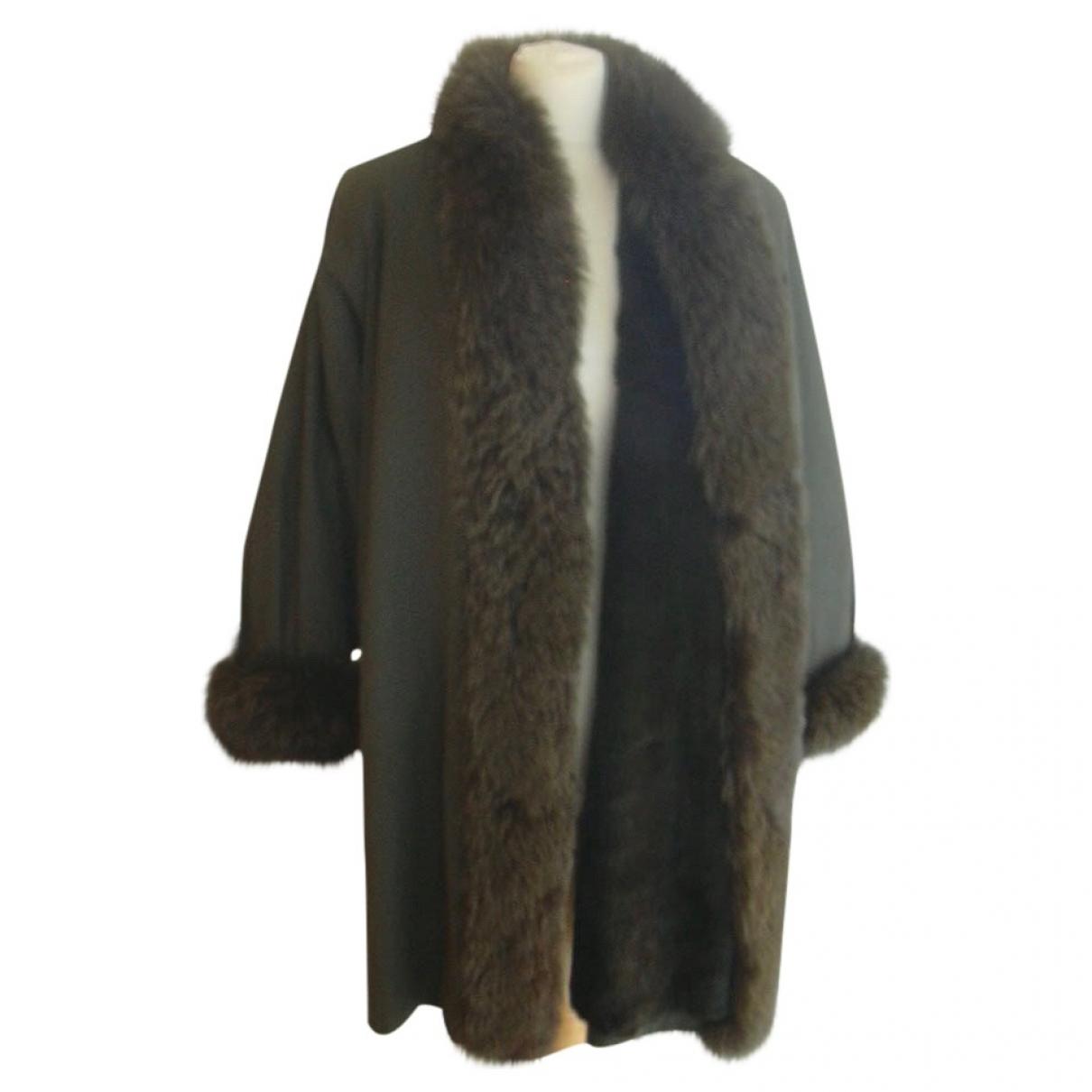 Jean-louis Scherrer - Manteau   pour femme en renard - kaki