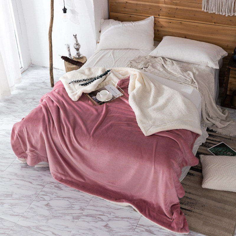 200x230cm AB Sided Thick Flannel Shearling Winter Blanket Quilt Home Soft Bedding Queen Size