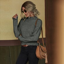 Stand Collar Ribbed Knit Sweater