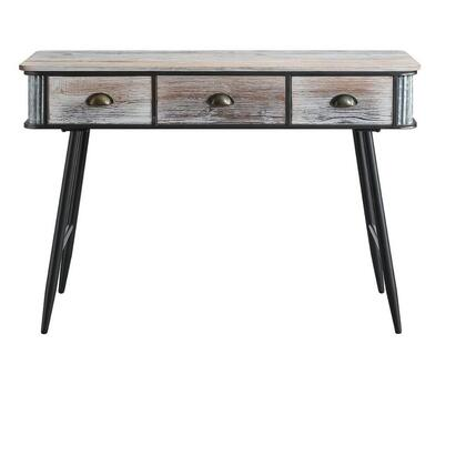 191014 Alta Collection Desk/Entry Table With 3 Drawers  in Washed Fir Wood w and gray wash and black and gray