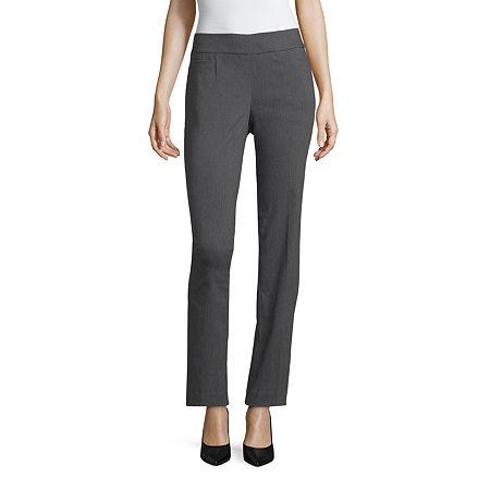 Liz Claiborne-Petite Straight Fit Straight Trouser, 8 Petite , Gray