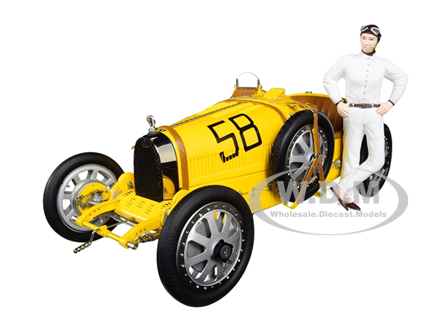 Bugatti T35 58 Grand Prix Yellow Livery with a Female Racer Figurine Limited Edition to 600 pieces Worldwide 1/18 Diecast Model Car by CMC