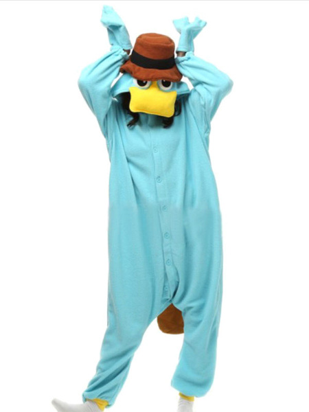Milanoo Magby Kigurumi Onesie Pajamas Light Sky Blue Flannel Winter Sleepwear Animal Costume Halloween