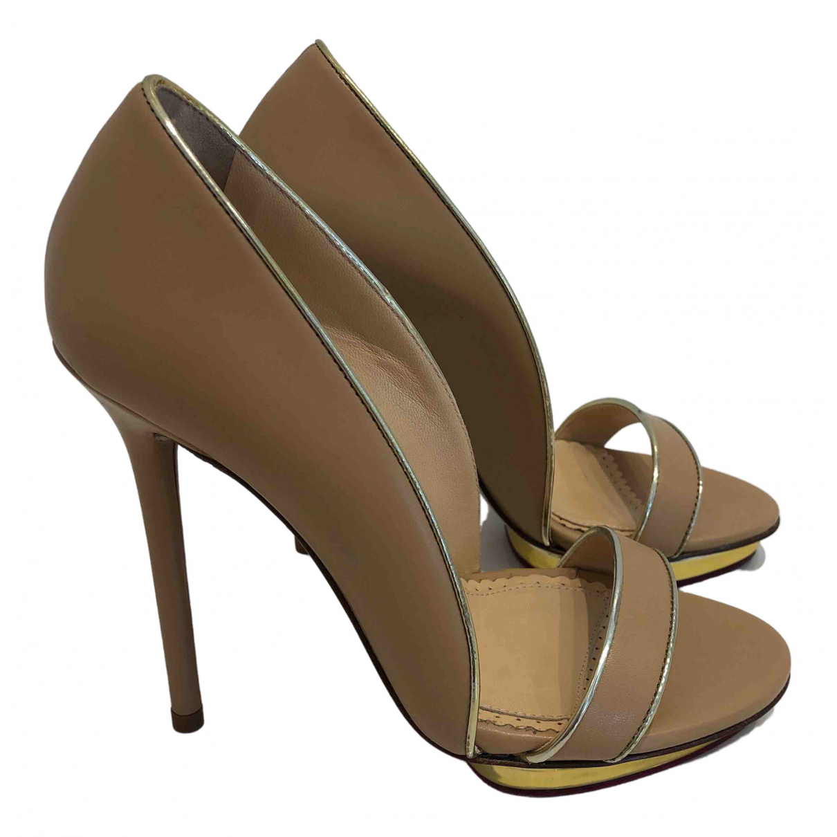 Charlotte Olympia \N Beige Leather Sandals for Women 34.5 EU
