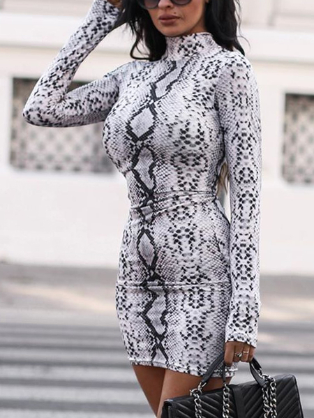 Yoins Grey Snakeskin High Neck Long Sleeves Dress