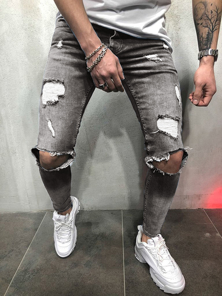 Yoins Men Ripped Zipper Distressed Denim Pant Tapered Fit Jeans
